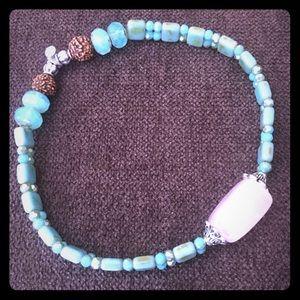Rose quartz and aqua beads Anklet!